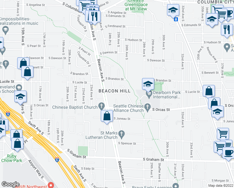 map of restaurants, bars, coffee shops, grocery stores, and more near 2503 S Lucile St in Seattle