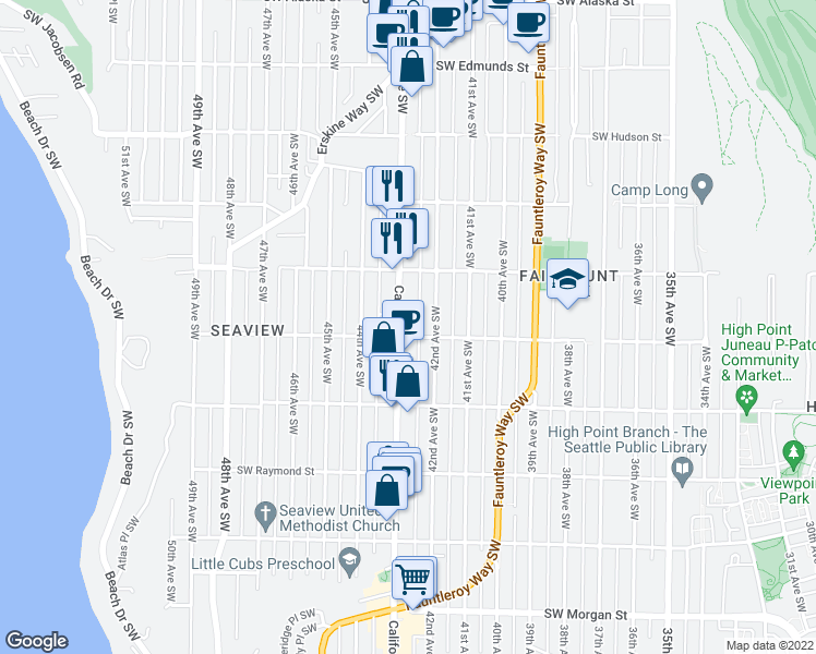 map of restaurants, bars, coffee shops, grocery stores, and more near 5450 California Avenue Southwest in Seattle