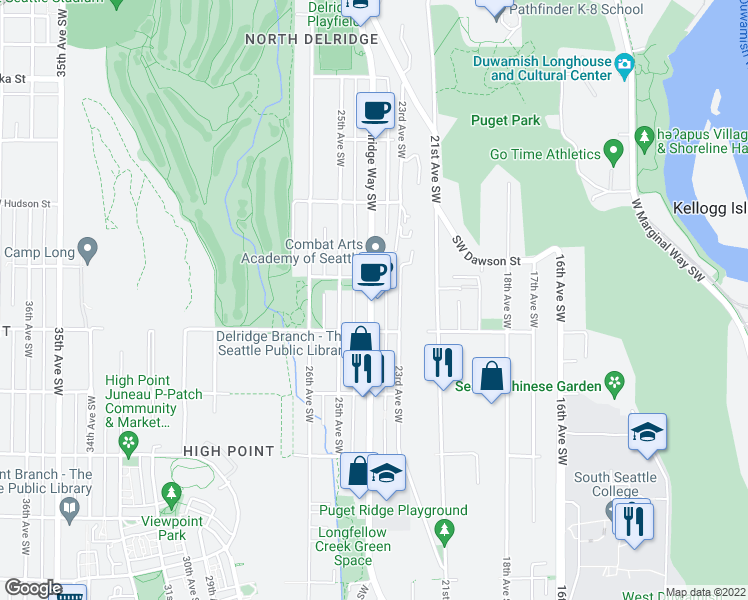 map of restaurants, bars, coffee shops, grocery stores, and more near 5206 Delridge Way Southwest in Seattle