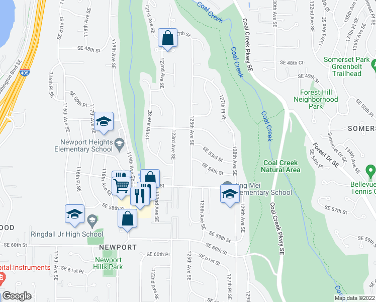 map of restaurants, bars, coffee shops, grocery stores, and more near 5317 125th Avenue Southeast in Bellevue