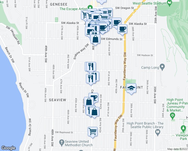 map of restaurants, bars, coffee shops, grocery stores, and more near 5230 California Avenue Southwest in Seattle