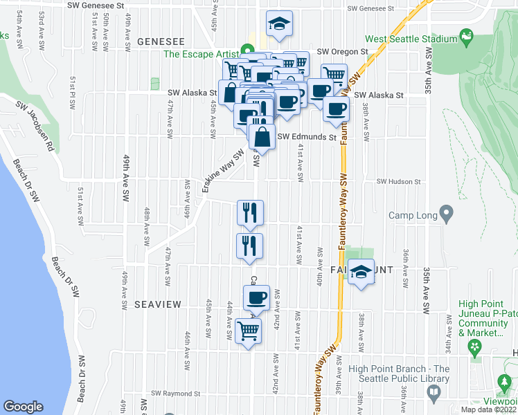 map of restaurants, bars, coffee shops, grocery stores, and more near 5038 California Avenue Southwest in Seattle