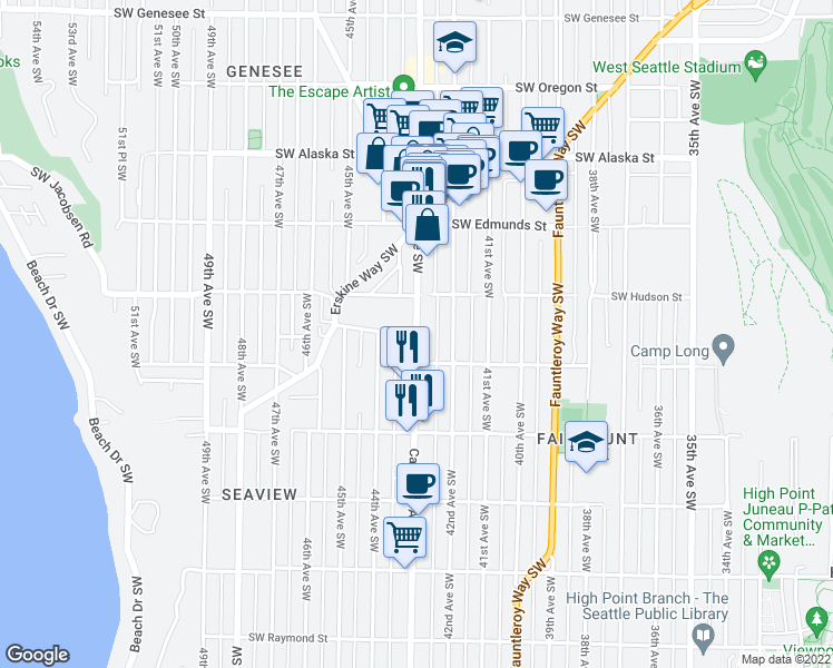 map of restaurants, bars, coffee shops, grocery stores, and more near California Avenue Southwest & Southwest Dawson Street in Seattle