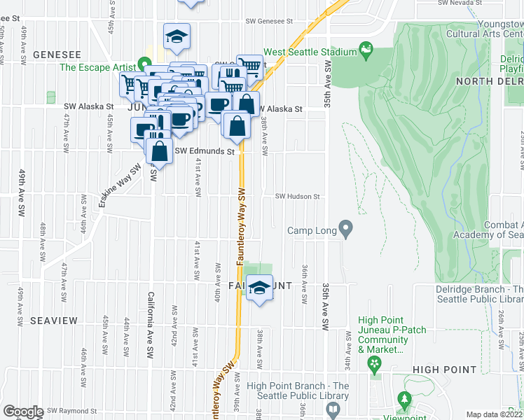 map of restaurants, bars, coffee shops, grocery stores, and more near 5017 38th Ave SW in Seattle