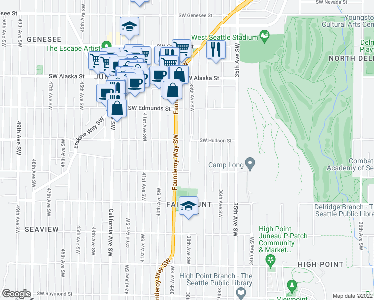map of restaurants, bars, coffee shops, grocery stores, and more near 5017 38th Avenue Southwest in Seattle