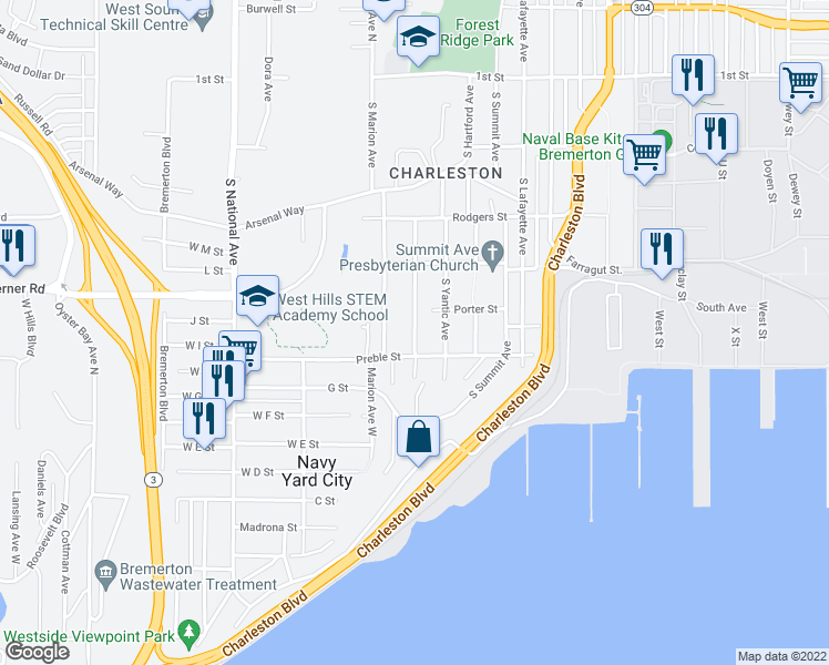 map of restaurants, bars, coffee shops, grocery stores, and more near 503 South Charleston Avenue in Bremerton