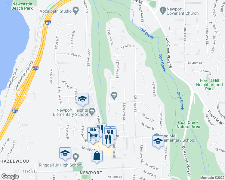map of restaurants, bars, coffee shops, grocery stores, and more near 12007 Southeast 51st Street in Bellevue