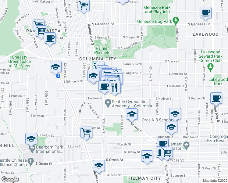 map of restaurants, bars, coffee shops, grocery stores, and more near 4900 Rainier Avenue South in Seattle