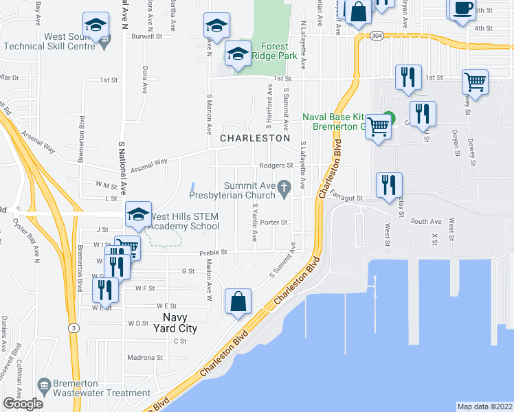 map of restaurants, bars, coffee shops, grocery stores, and more near 414 South Yantic Avenue in Bremerton