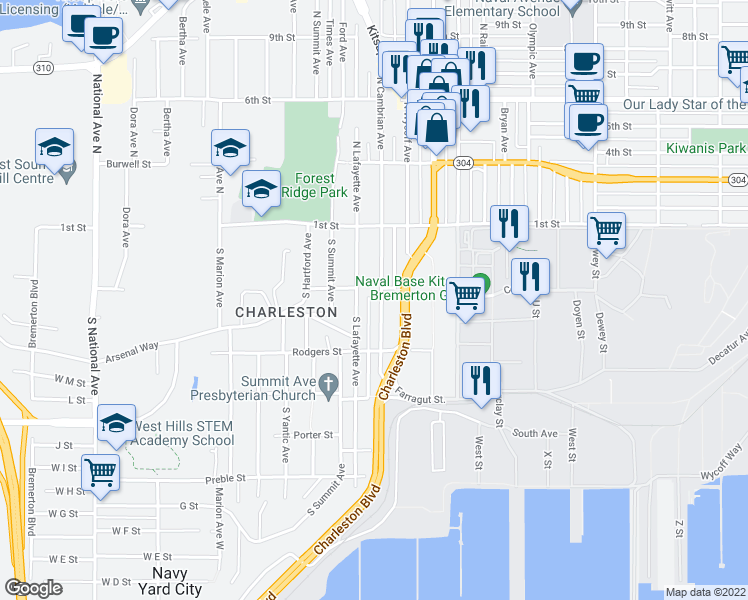 map of restaurants, bars, coffee shops, grocery stores, and more near 146 South Lafayette Avenue in Bremerton