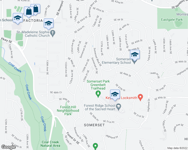 map of restaurants, bars, coffee shops, grocery stores, and more near 4621 Somerset Place Southeast in Bellevue