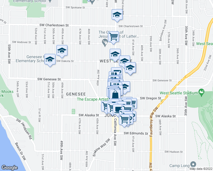 map of restaurants, bars, coffee shops, grocery stores, and more near 4444 44th Avenue Southwest in Seattle
