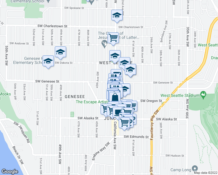 map of restaurants, bars, coffee shops, grocery stores, and more near 4416 44th Avenue Southwest in Seattle