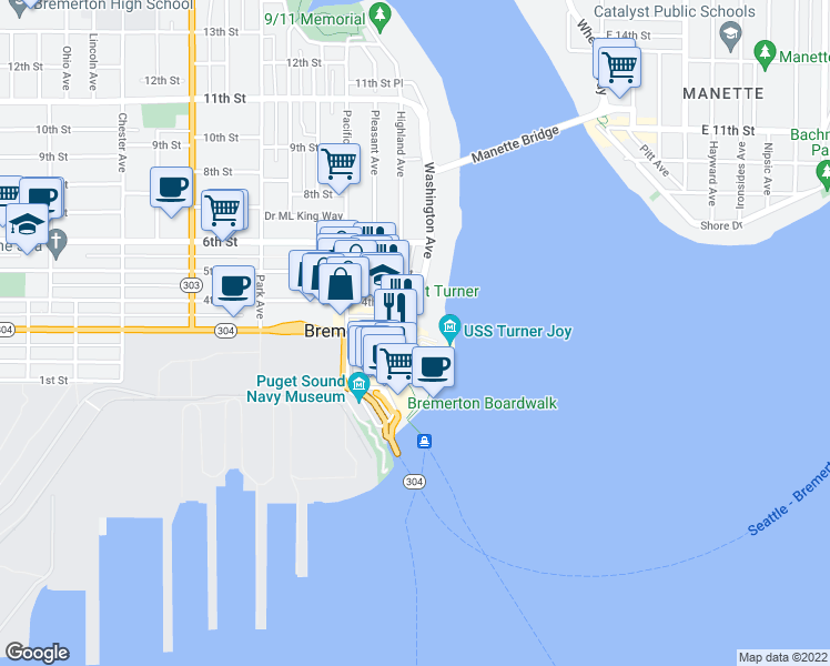 map of restaurants, bars, coffee shops, grocery stores, and more near 232-238 Burwell Street in Bremerton