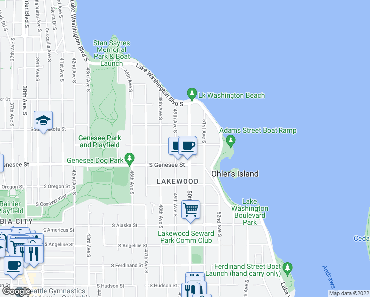map of restaurants, bars, coffee shops, grocery stores, and more near 4921 South Adams Street in Seattle