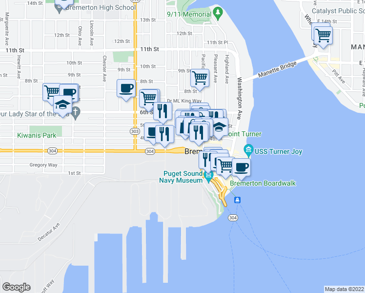 map of restaurants, bars, coffee shops, grocery stores, and more near 606 Burwell Street in Bremerton