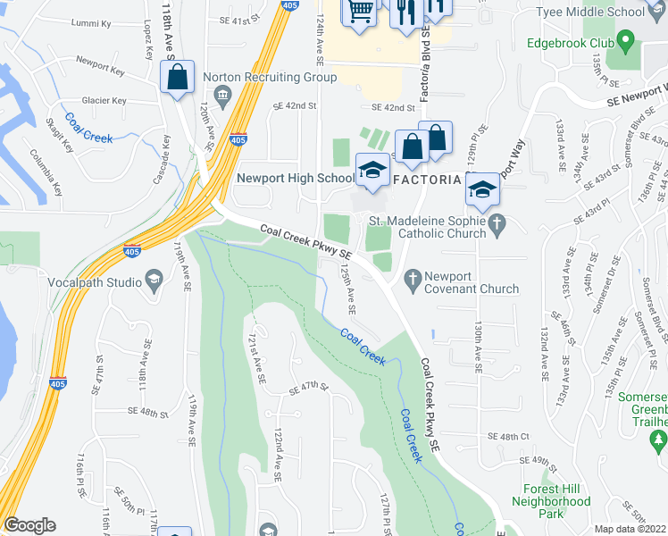 map of restaurants, bars, coffee shops, grocery stores, and more near 4515 125th Avenue Southeast in Bellevue