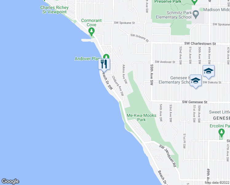 map of restaurants, bars, coffee shops, grocery stores, and more near 4225 Beach Drive Southwest in Seattle