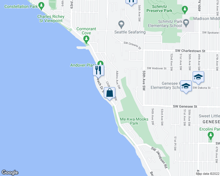 map of restaurants, bars, coffee shops, grocery stores, and more near 4128 Chilberg Avenue Southwest in Seattle