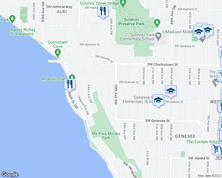 map of restaurants, bars, coffee shops, grocery stores, and more near 4020 56th Avenue Southwest in Seattle