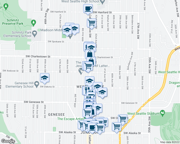 map of restaurants, bars, coffee shops, grocery stores, and more near California Ave SW & SW Andover St in Seattle