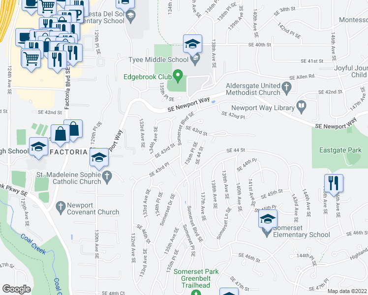 map of restaurants, bars, coffee shops, grocery stores, and more near 4342 Somerset Boulevard Southeast in Bellevue
