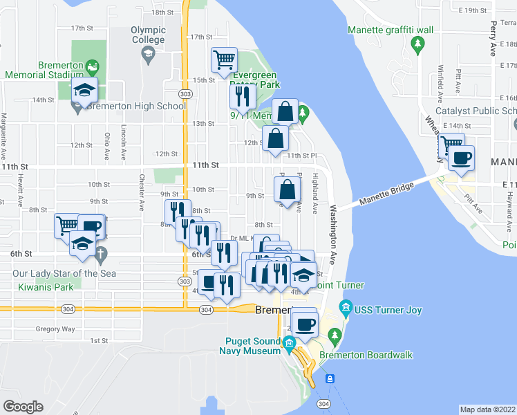 map of restaurants, bars, coffee shops, grocery stores, and more near 821 Cogean Avenue in Bremerton