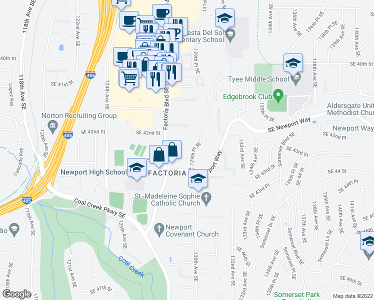 map of restaurants, bars, coffee shops, grocery stores, and more near 4249 129th Place Southeast in Bellevue