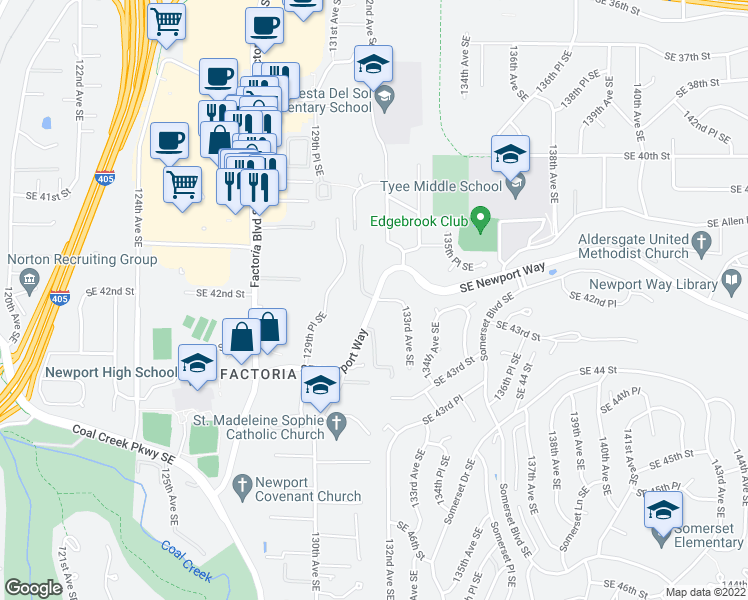 map of restaurants, bars, coffee shops, grocery stores, and more near 13180 Southeast Newport Way in Bellevue