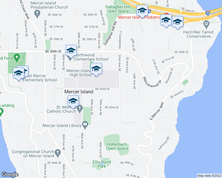 map of restaurants, bars, coffee shops, grocery stores, and more near 9100-9164 Southeast 42nd Street in Mercer Island