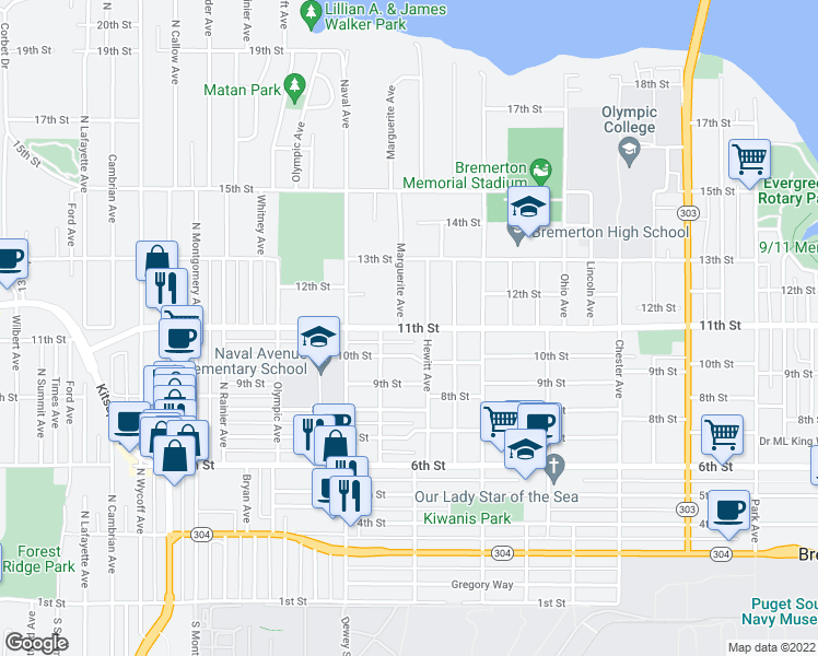 map of restaurants, bars, coffee shops, grocery stores, and more near 2006 11th Street in Bremerton