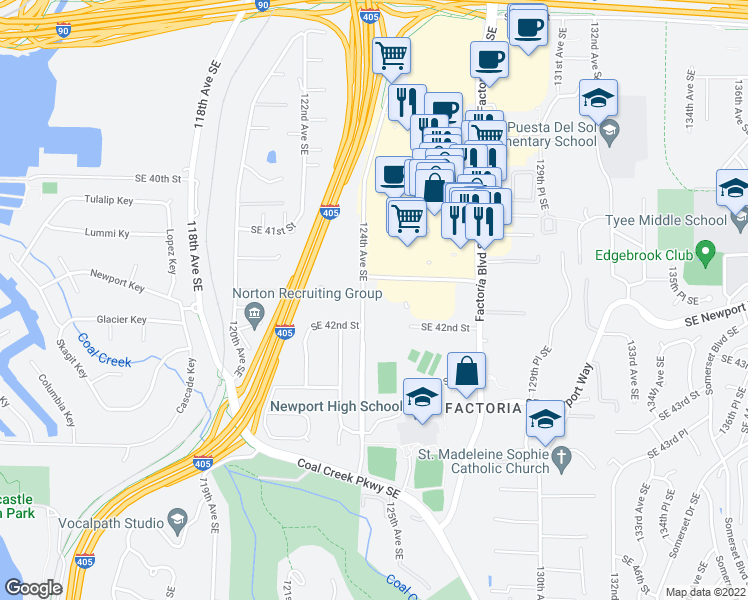 map of restaurants, bars, coffee shops, grocery stores, and more near 4160 124th Avenue Southeast in Bellevue
