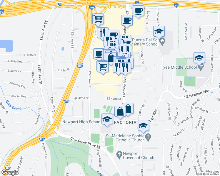 map of restaurants, bars, coffee shops, grocery stores, and more near 12601 Southeast 41st Place in Bellevue