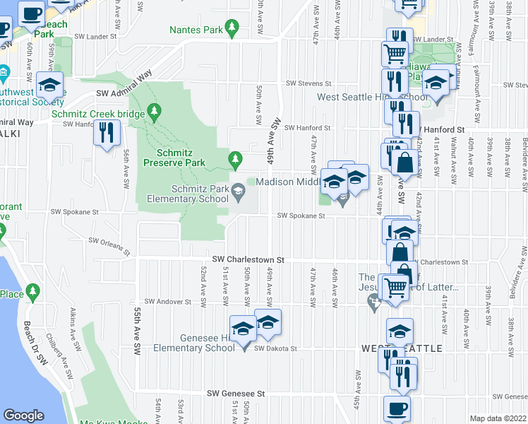 map of restaurants, bars, coffee shops, grocery stores, and more near 4904 Southwest Spokane Street in Seattle