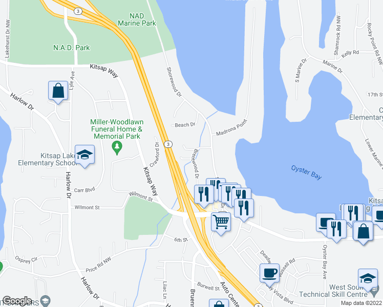 map of restaurants, bars, coffee shops, grocery stores, and more near 5101 Hideaway Lane in Bremerton