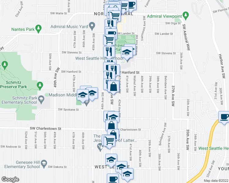 map of restaurants, bars, coffee shops, grocery stores, and more near 3262 California Avenue Southwest in Seattle