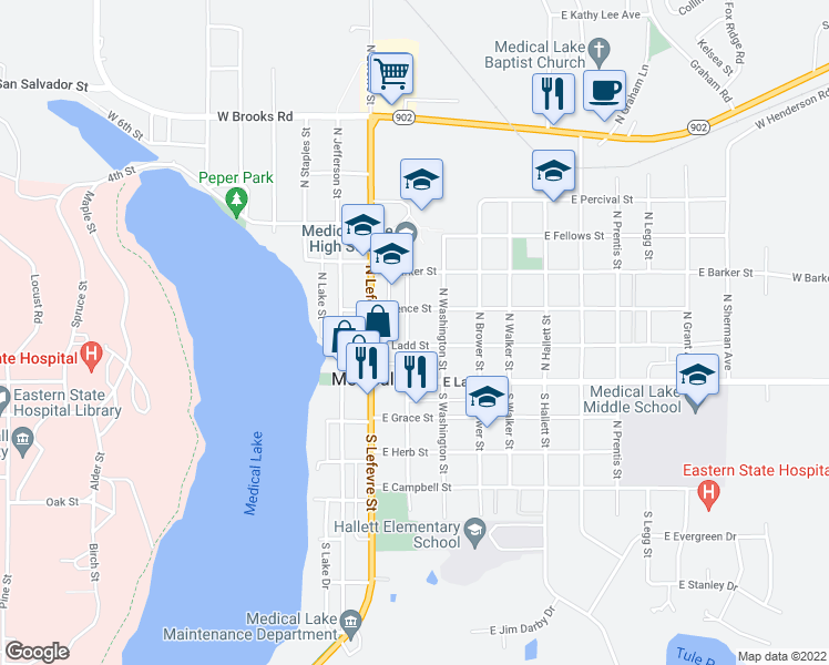 map of restaurants, bars, coffee shops, grocery stores, and more near 203 East Ladd Street in Medical Lake