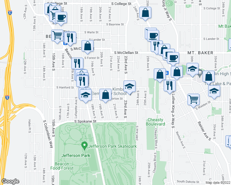 map of restaurants, bars, coffee shops, grocery stores, and more near 3212 21st Ave S in Seattle