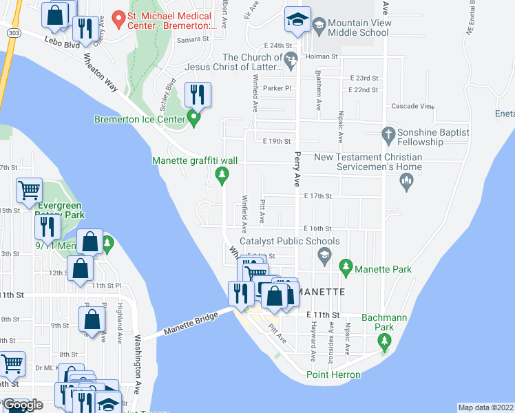 map of restaurants, bars, coffee shops, grocery stores, and more near 1707 Pitt Avenue in Bremerton