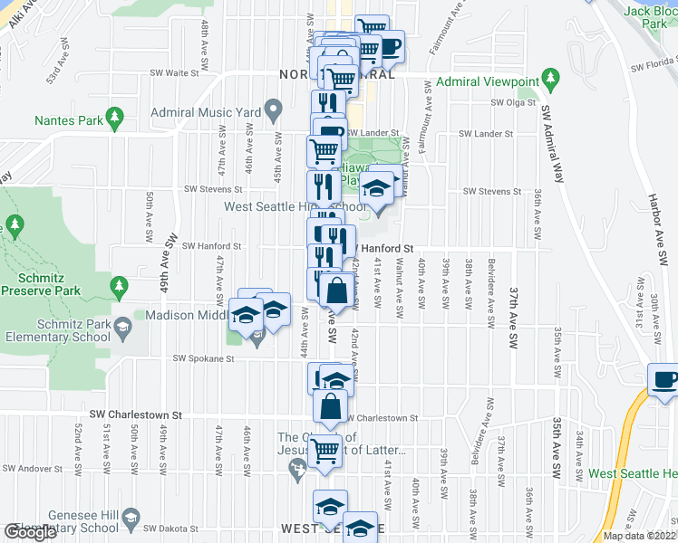 map of restaurants, bars, coffee shops, grocery stores, and more near 3220 California Avenue Southwest in Seattle