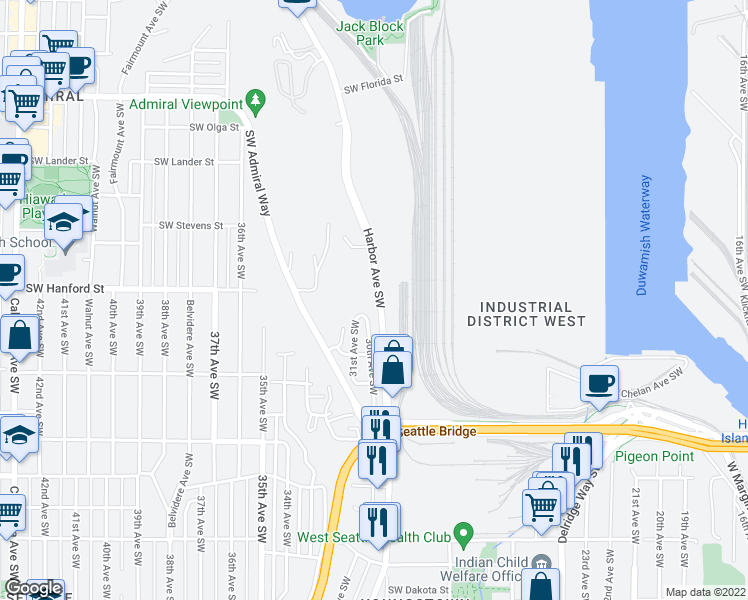 map of restaurants, bars, coffee shops, grocery stores, and more near 3213 Harbor Avenue Southwest in Seattle