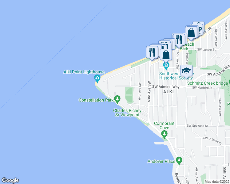 map of restaurants, bars, coffee shops, grocery stores, and more near 3201 Benton Place Southwest in Seattle