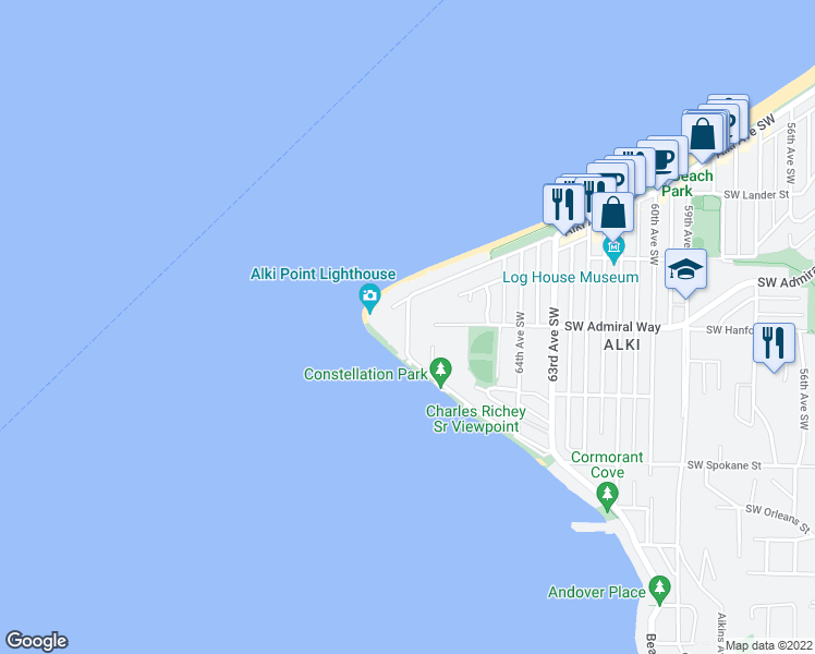 map of restaurants, bars, coffee shops, grocery stores, and more near 3221 Alki Avenue Southwest in Seattle