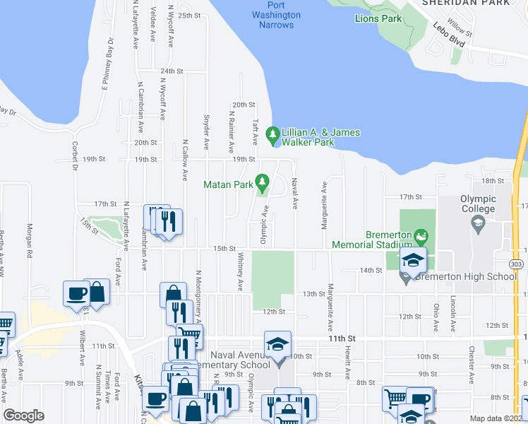 map of restaurants, bars, coffee shops, grocery stores, and more near 1522 Arvon Avenue in Bremerton
