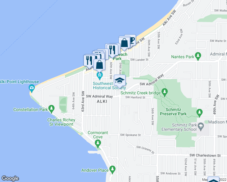 map of restaurants, bars, coffee shops, grocery stores, and more near 3040 60th Avenue Southwest in Seattle