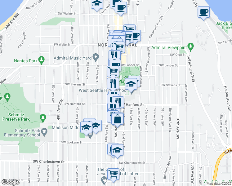 map of restaurants, bars, coffee shops, grocery stores, and more near 2934-2948 California Avenue Southwest in Seattle