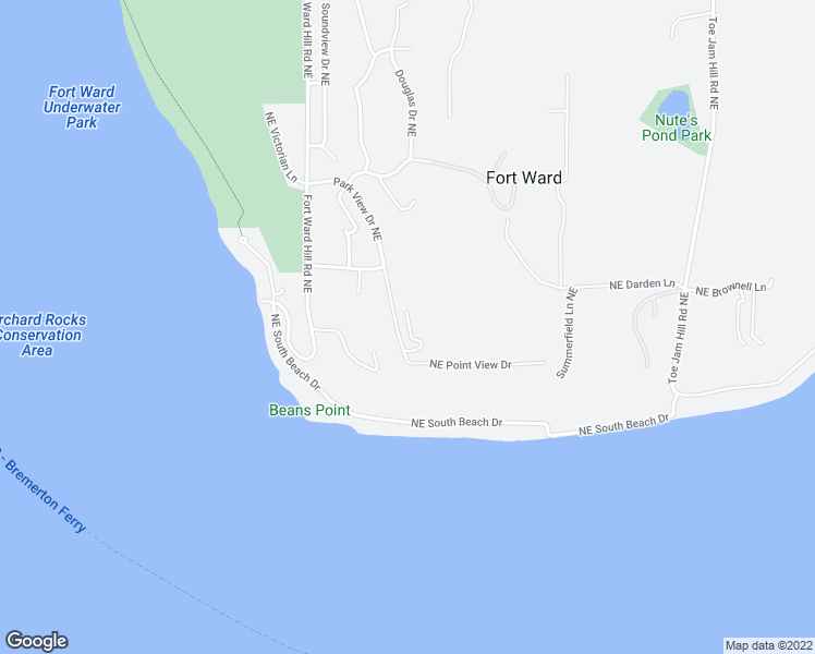 map of restaurants, bars, coffee shops, grocery stores, and more near 1574 Park View Drive Northeast in Bainbridge Island