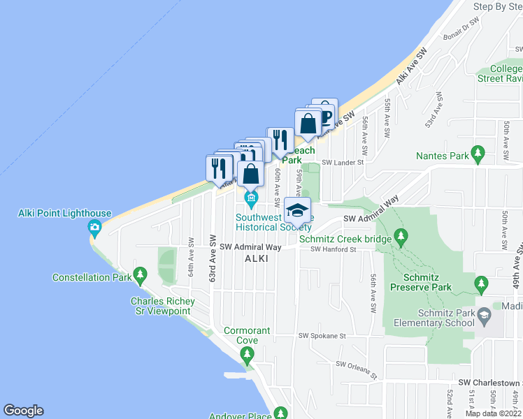 map of restaurants, bars, coffee shops, grocery stores, and more near 6023 Southwest Stevens Street in Seattle