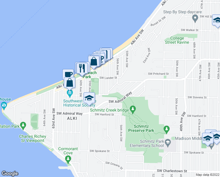 map of restaurants, bars, coffee shops, grocery stores, and more near 2734 57th Avenue Southwest in Seattle