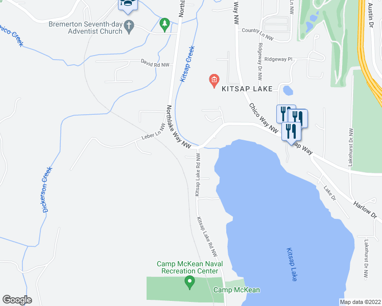 map of restaurants, bars, coffee shops, grocery stores, and more near 1843 Kitsap Lake Road Northwest in Bremerton